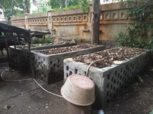 Figure 2: Compost beds in the Naoroji Campus in TISS. These are used to recycle all the garden waste generated on campus.