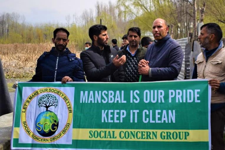 Manasbal Lake Cleanliness Drive held in Kashmir by Social Concern Group