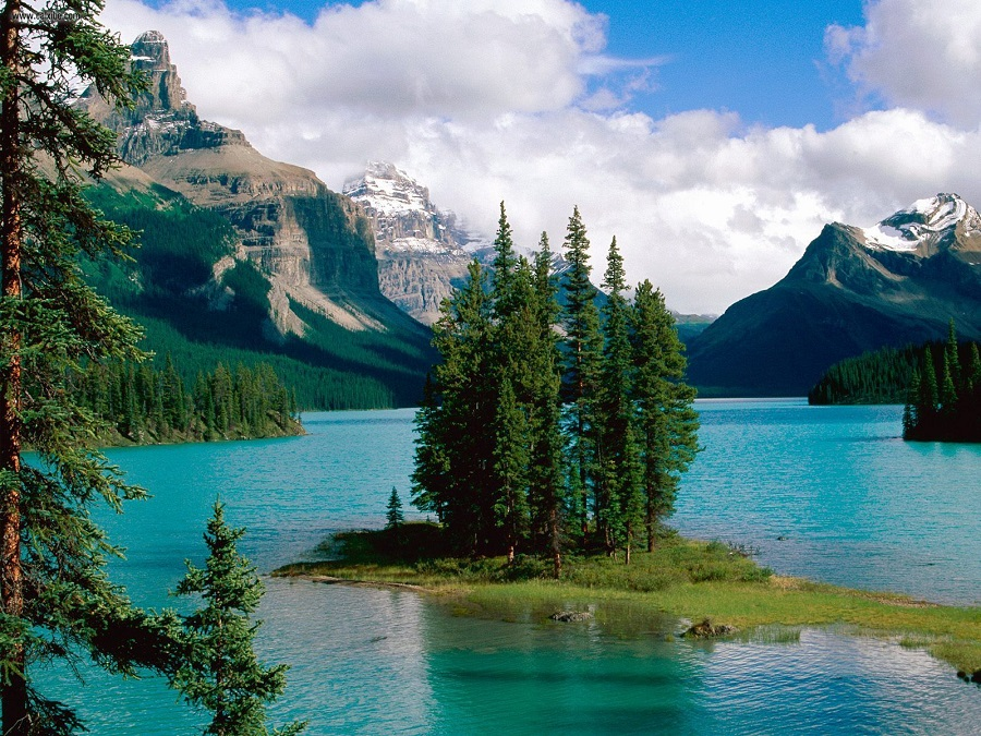 Spirit Island at Maligne Lake in Jasper National Park Alberta Canada