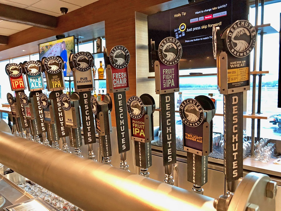 The taps at the Deschutes Brewery Public House at Portland International Airport
