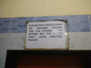 Figure 11: Notice in the Dining Hall in the Naoroji Campus, TISS, Mumbai telling students to minmise food waste